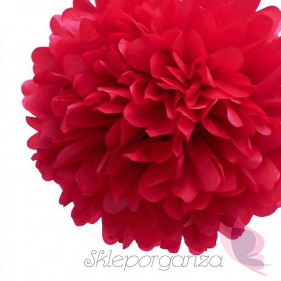 Papierowe kule kwiatowe pompony Papierowy kwiat, czerwony, 35cm