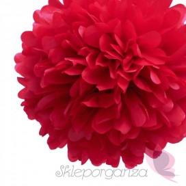 Papierowy kwiat, czerwony, 35cm