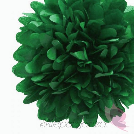 Papierowe kule kwiatowe pompony Papierowy kwiat, ciemnozielony, 35cm