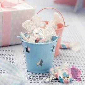 Kolekcja Wózeczek na Baby Shower Wiaderko niebieskie WÓZECZEK
