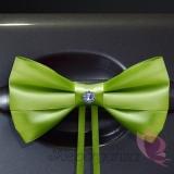 Paleta - biel, zieleń, róż Kokardy zielone z aplikacją