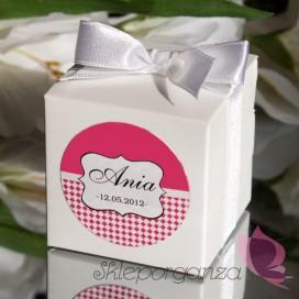 Pudełko kostka biała, wstążka - personalizacja