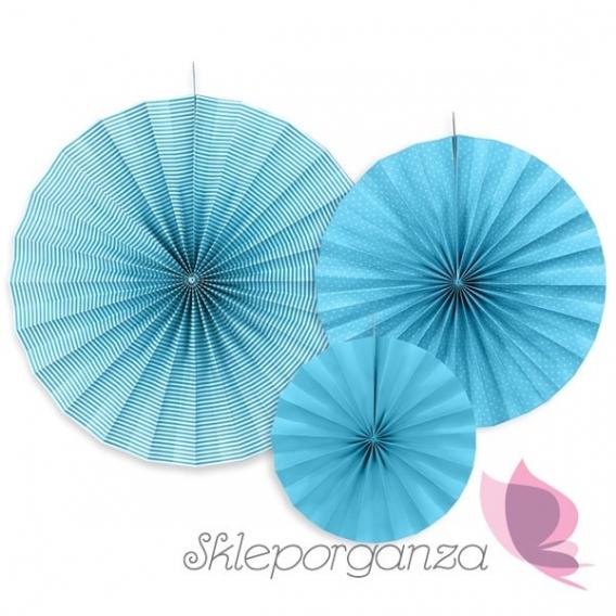 Rozety dekoracyjne niebieskie, 3 szt