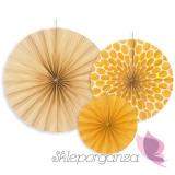 Rozety dekoracyjne żółte, 3 szt