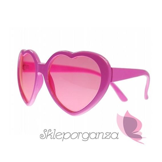 Opaski, okulary, itd. Okulary różowe SERDUSZKA
