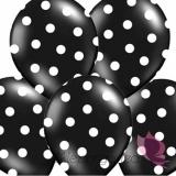 Balony czarne w białe KROPKI, 6szt