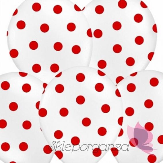 Kropki Balony białe w czerwone KROPKI, 6szt
