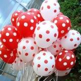 Balony białe w czerwone KROPKI, 6szt