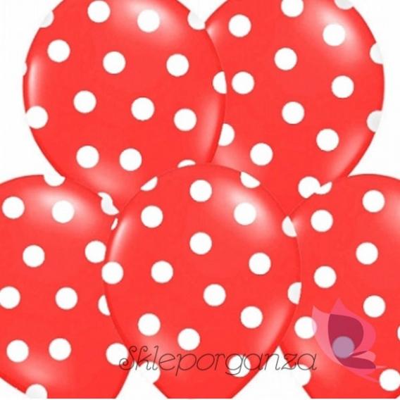 Balony czerwone w białe KROPKI, 6szt