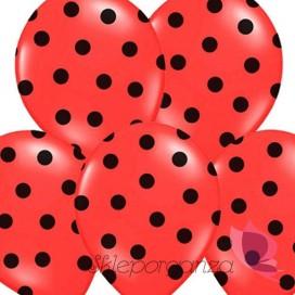 Balony czerwone w czarne KROPKI, 6szt