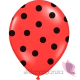 Kropki Balony czerwone w czarne KROPKI, 6szt
