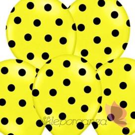 Balony żółte w czarne KROPKI, 6szt