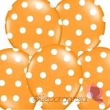 Kropki Balony pomarańczowe w białe KROPKI, 6szt