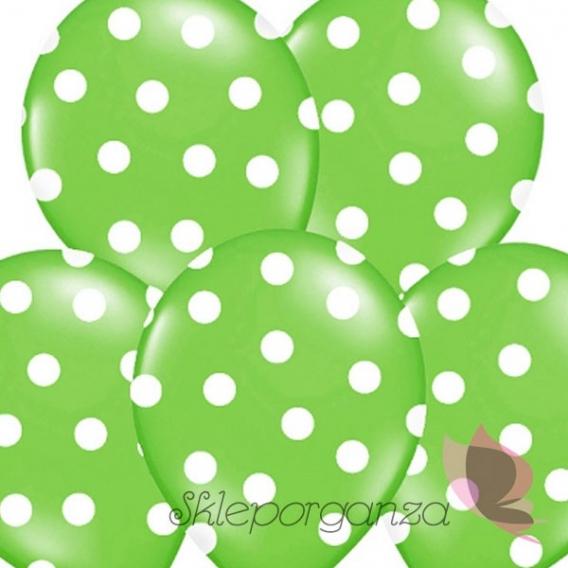 Kropki Balony zielone w białe KROPKI, 6szt