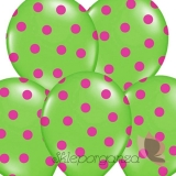 Balony zielone w różowe KROPKI, 6szt