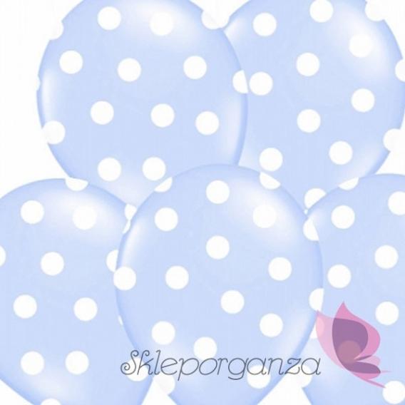 Kropki Balony jasnoniebieskie w białe KROPKI, 6szt