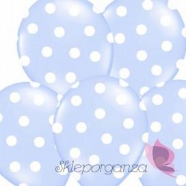 Balony jasnoniebieskie w białe KROPKI, 6szt