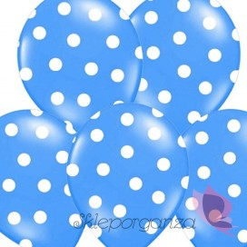 Balony niebieskie w białe KROPKI, 6szt