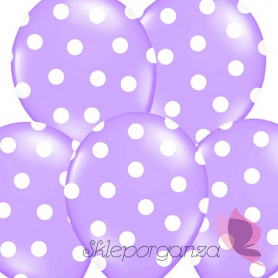 Balony fioletowe w białe KROPKI, 6szt