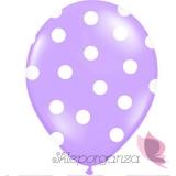 Kropki Balony fioletowe w białe KROPKI, 6szt