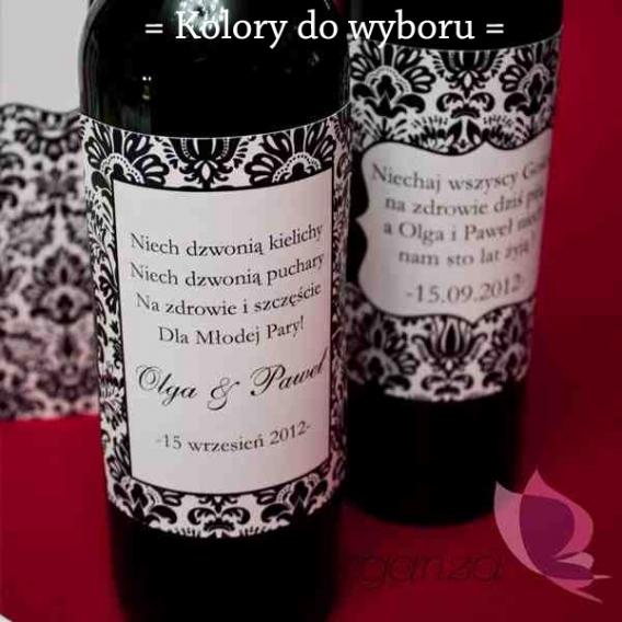 Zawieszki na alkohol Etykieta na alkohol - personalizacja kolekcja DAMASK