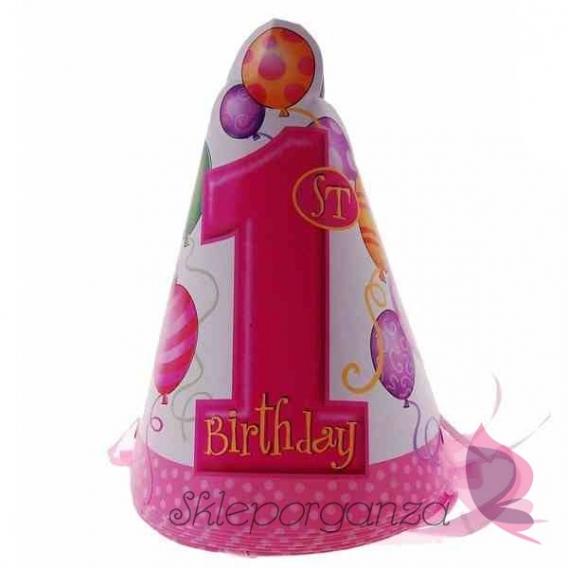 Kolekcja Roczek Dziewczynki Czapeczki 1 urodziny różowe