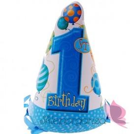 Czapeczki 1 urodziny niebieskie