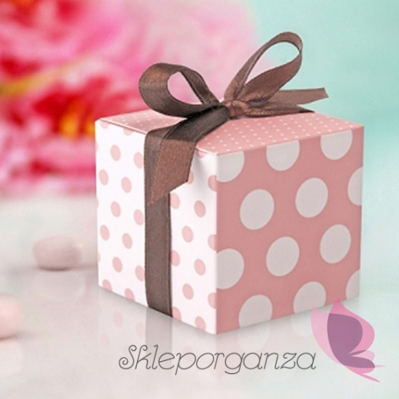 Kropki Pudełka różowe z brązową wstążką, 10szt