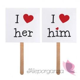 Karteczki, tabliczki Karteczki I love her / I love him, 2 szt