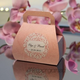 Pudełko torebka różowa - personalizacja
