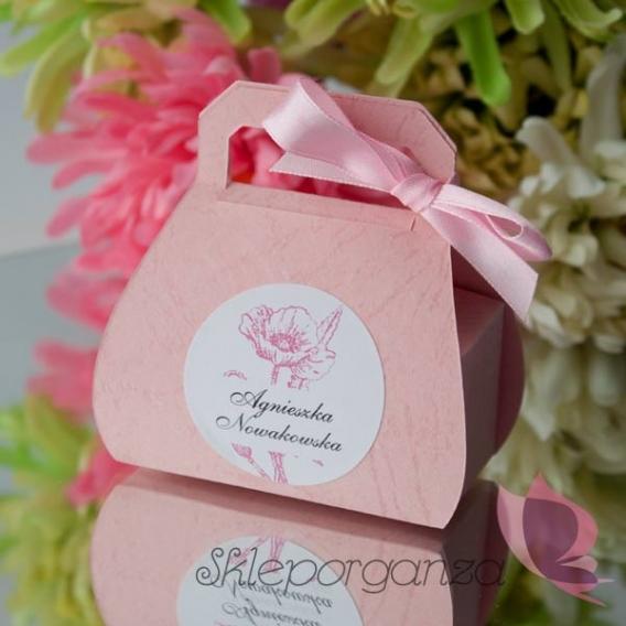 2w1 Upominki/Winietki Pudełko torebka różowa - personalizacja WINIETKA