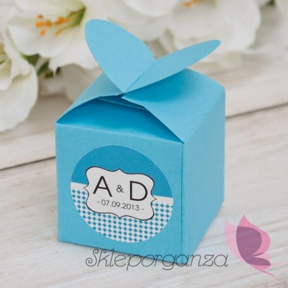 Pudełko serce niebieskie - personalizacja