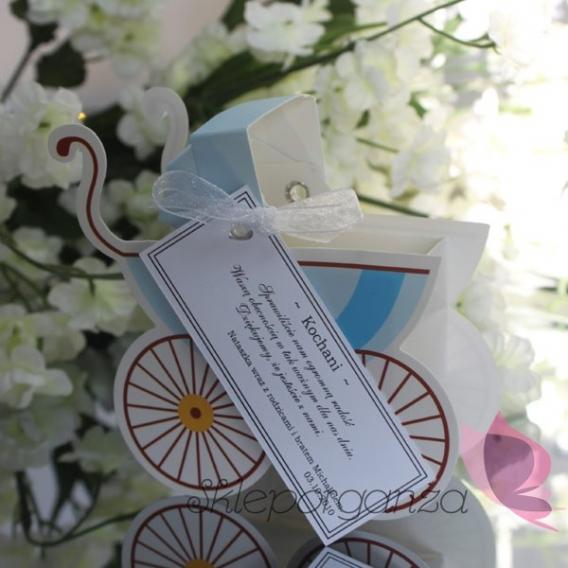 Kolekcja Wózeczek Pudełko wózek niebieski - personalizacja