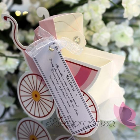 Pudełko wózek - bilecik - różowe
