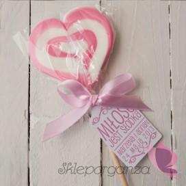 Lizak duży serce różowe- personalizacja - kolekcja LOVE