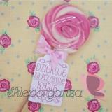 Upominki dla gości na Urodziny personalizowane Lizak okrągły różowy - personalizacja