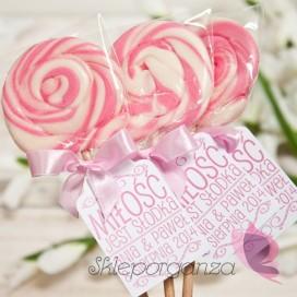 Lizaki Lizak okrągły różowy - personalizacja - kolekcja LOVE