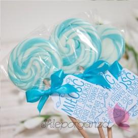 Lizak okrągły niebieski - personalizacja - kolekcja LOVE