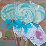 Upominki dla gości na Urodziny personalizowane Lizak okrągły niebieski - personalizacja