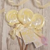 Upominki dla gości na Urodziny personalizowane Lizak okrągły żółty - personalizacja