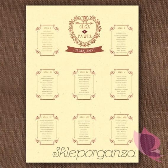 Plan stołów Plan stołów - personalizacja kolekcja VINTAGE