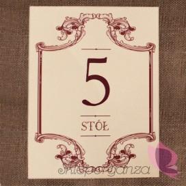 Etykieta numery stolików - personalizacja kolekcja VINTAGE