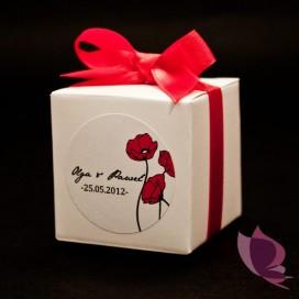Pudełka weselne personalizowane Pudełko kostka biała - personalizacja kolekcja MAKI