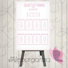 Plan stołów Plan stołów - personalizacja kolekcja LOVE