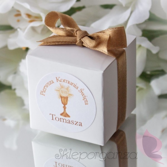 Kolekcja Kielich Pudełko kostka biała, wstążka - personalizacja KIELICH