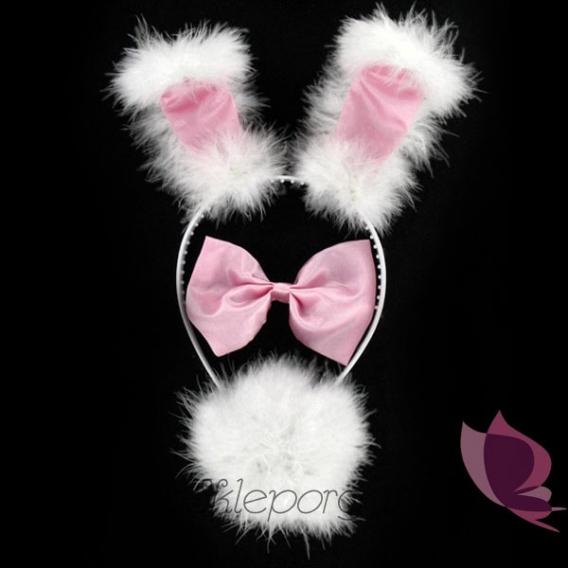 Przebrania Zestaw króliczka biało - różowy