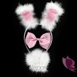 Zestaw króliczka biało - różowy