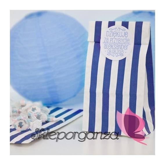 Z personalizacją PERSONALIZOWANA torebka paski niebieskie