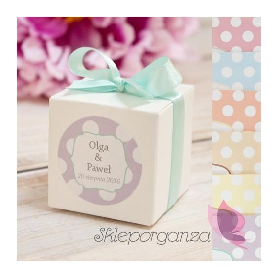 Kropki Pudełko kostka biała - personalizacja kolekcja KROPKI