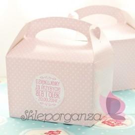 Pudełko na ciasto - personalizacja RÓŻOWE KROPECZKI